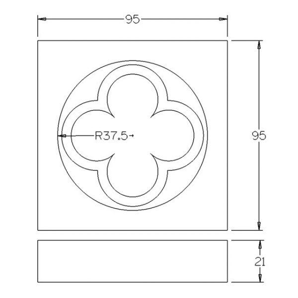95x95x22mm Quatrefoil Pine Architrave Block