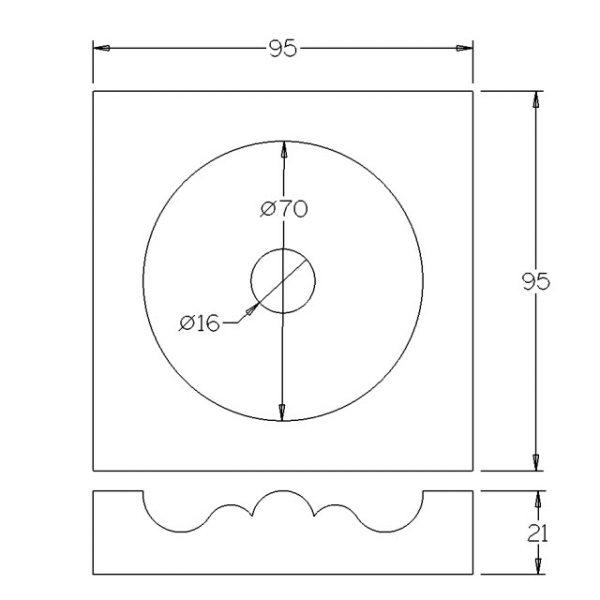 95x95x22mm Rosette Pine Architrave Block